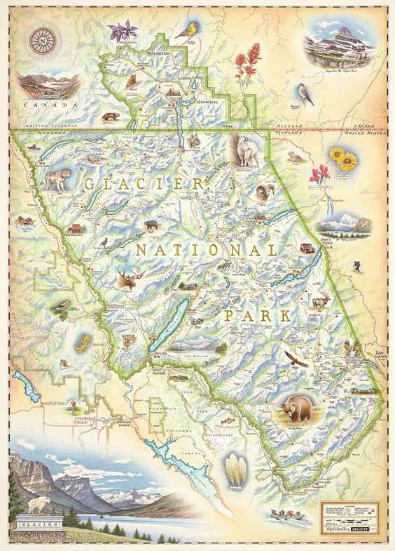 HandDrawn Map of Glacier National Park – Montana Travel Map