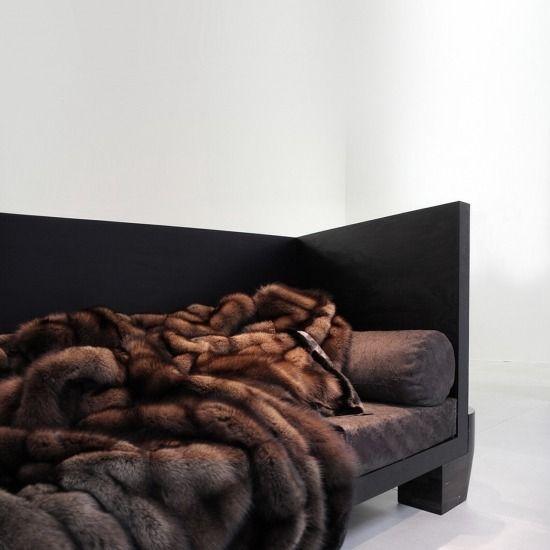 Nellyxagemo Rick Owens Sable Fur Lined With Black Mink Fur Bedding Fur Blanket Bedroom Inspirations