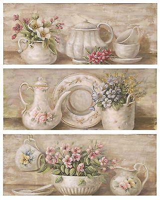 Lorenzon set 3 quadri legno floreale provenzale quadro for Quadro shabby