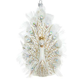 White Glass Peacock Festive Decoration