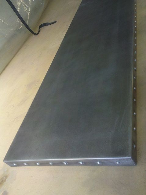 Blackened zinc countertop with rivets by copperguy100 via for Zinc countertop cost