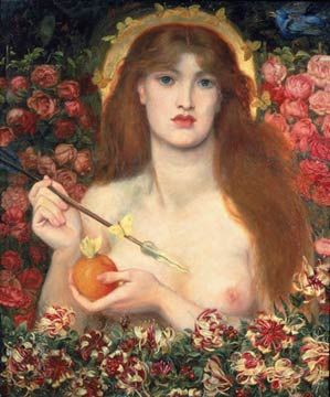 Portrait painting of a naked young woman in a group of flowers