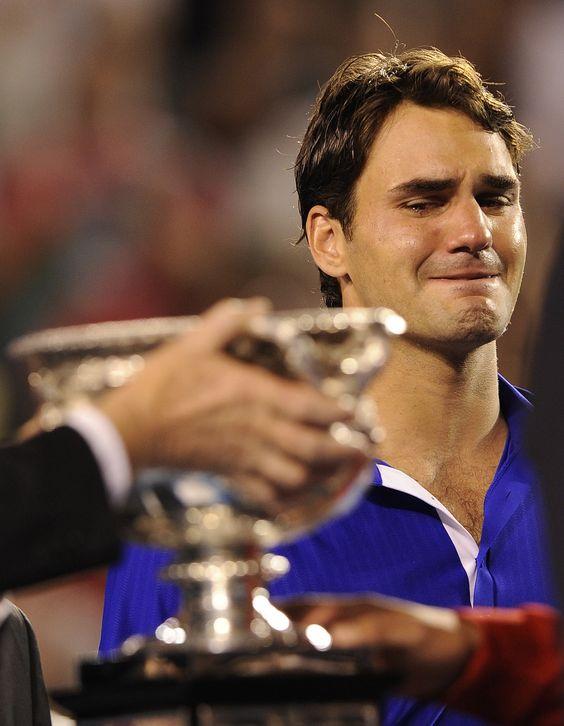 Roger Federer tears up