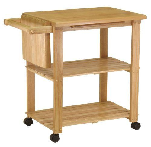 Wood Kitchen Microwave Storage Prep Table Rolling Cart On