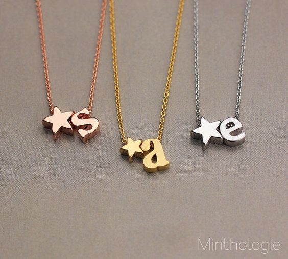 Meredith Initial Star Necklace N001 / by MinthologieStudio on Etsy