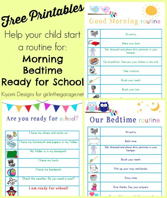 Free printable lists to help kids get into a morning and bedtime routine, and to make sure they're ready to leave for school every morning. ...