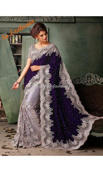 Sari Mariage Manassa - Gris Saree robe indienne