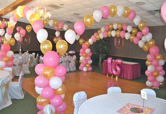 Sweet 16 party decorations sixteen party ideas for Balloon decoration ideas for quinceaneras