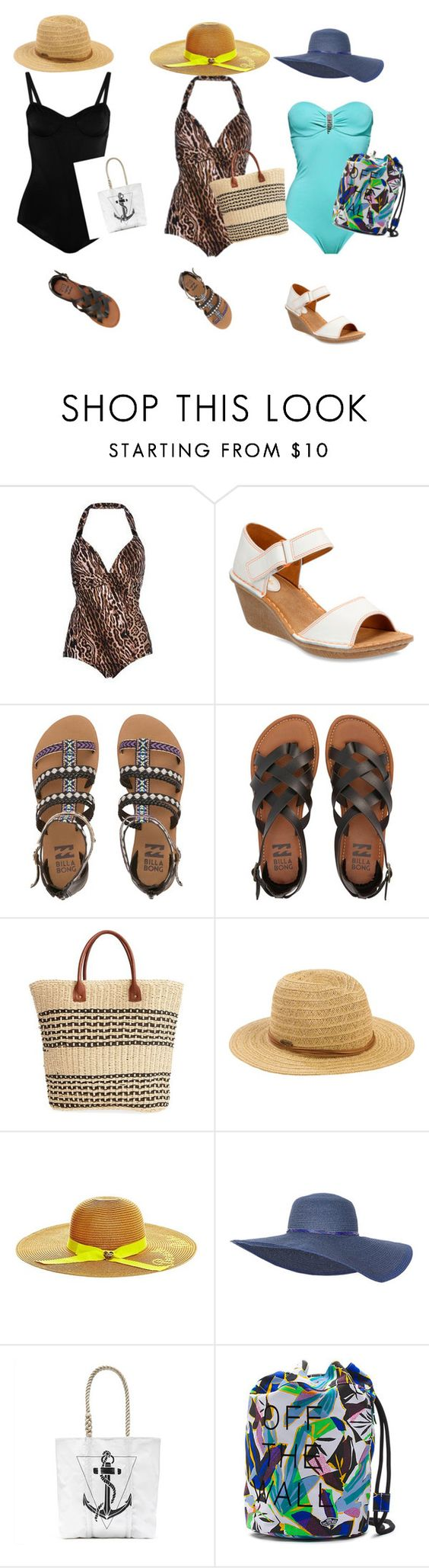 """""""Grandma in the sea!❤️"""" by ermy9 ❤ liked on Polyvore featuring Clarks, Billabong, San Diego Hat Co., Betsey Johnson, Alex and Ani and Vans"""