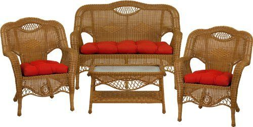 3411 Aluminum Frame Peanut Butter Wicker 4 Piece Set with Solid Red Cushions by Flash Furniture. $898.99. Extremely durable corrosion resistant aluminum frame Handwoven vinyl all-weather wicker Can be used indoor/outdoor, even on the coast Includes matching Loveseat, 2 Chairs, and Coffee Table Also includes matching seat-cushion set as shown Made of eco-friendly materials and CA 117 compliant foam DO NOT USE BLEACH ON THIS PRODUCT Loveseat Dimensions: 52.5''W x 28''D x 38'...