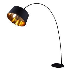 Diese filigrane Bogenlampe wirkt durch die goldfarbene Beschichtung im Inneren des Schirms besonders edel und extravagant.