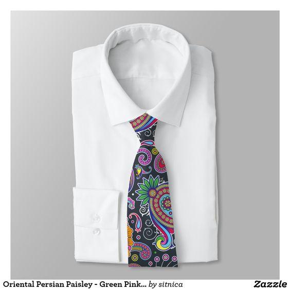 Oriental Persian Paisley - Green Pink Blue Yellow Tie