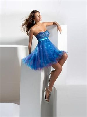 Short A-line Strapless with Sequins Tulle Prom Dress PD11166 www.dresseshouse.co.uk $88.0000