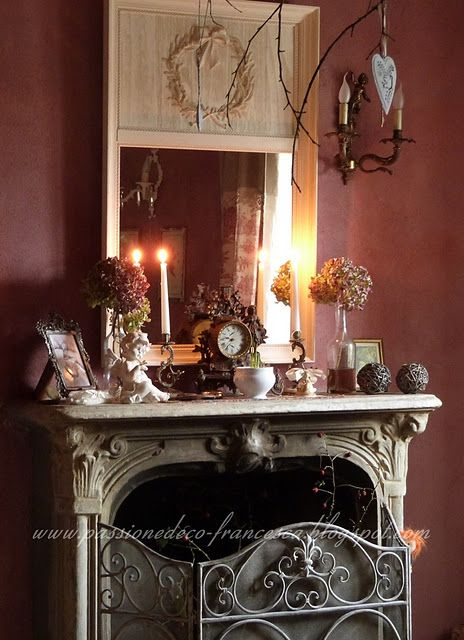 French country dining room french country living room and - Living room dining room with fireplace ...