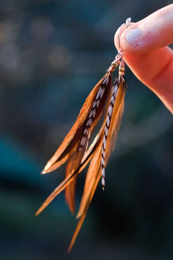 Step by step guide of how to make feather earrings, with pictures.