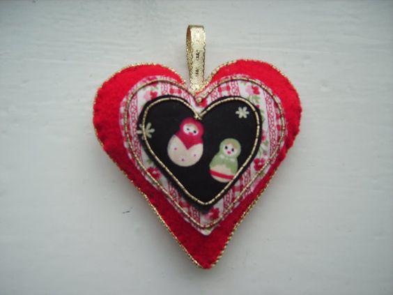 Christmas heart decoration with Russian doll motif by MummyHughesy, $3.00
