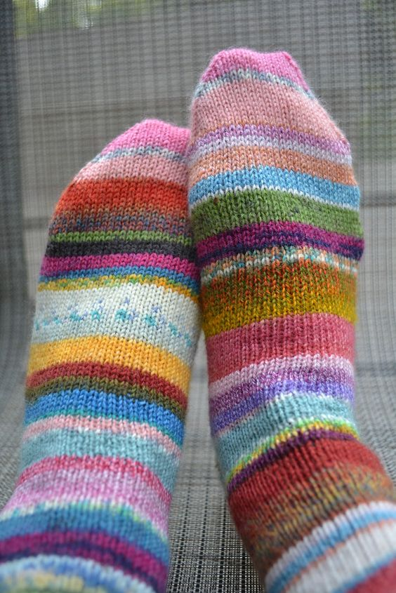 Hi Knitters,  I finished my first pair of Patchwork Socks a couple of days ago. Make no bones about it, they are pretty darn fun and cute...