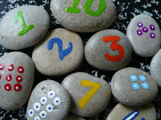 Thank you so much Ann! Wishing you a very happy birthday party:)    These sweet little rocks...  with counting dots...  making simple math fun...  for your daughter or son:)    Heres something new! Just having fun with my stones:) A math game made up of 14 stones, all hand painted and covered with a finish, so the numbers will last. I tried to make a set of numbers you would need to make some basic math problems.  So, included are:    * 1 through 10 ( each back shows a coordinating number of…