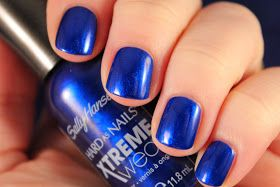 Sally Hansen Xtreme Wear: Monarch-y. More royal than cobalt. Great watery depth. Almost a jelly look.