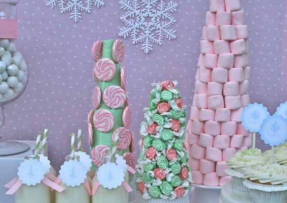 pastel holiday party: use styrofoam trees to make a ribbon-wrapped lollipop tree, marshmallow tree and peppermint taffy tree