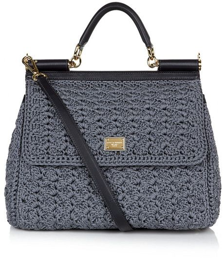 dolce crochet bag | Dolce & Gabbana Miss Sicily Classic Crochet Bag in Gray (gold) - Lyst: