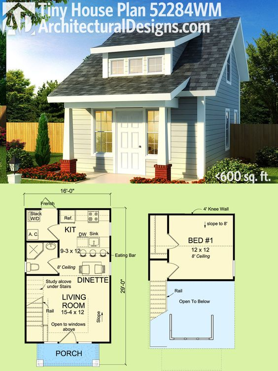 Plan 52284wm tiny cottage or guest quarters mom for House plans under 600 square feet