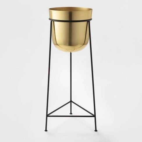 26 X 9 2 Brass Planter With Stand Gold Black Project 62 Brass Planter Gold Planter Ceramic Planters