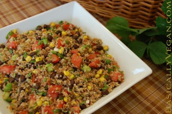 Southwestern Tabbouleh Salad. This is a great dish for summer, because it is a delicious raw food recipe that does not require a stove. The bold dressing gives the salad a definite southwestern flair. If you prefer a milder flavor, divide the cayenne, cumin, and lime juice proportions in half. Recipe available at BasicallyVegan.com.