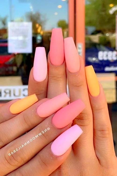 Acrylic Nails Peach Nails Acrylic Nails Coffin Vibrant Nails