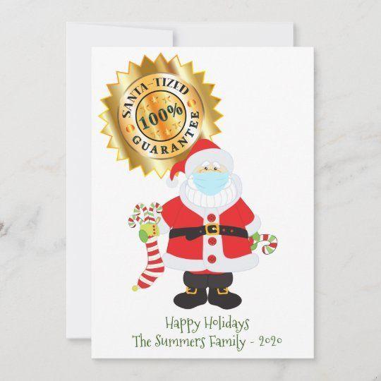 Christmas 2020 Santa Tized Santa Face Mask Humor Holiday Card Zazzle Com Holiday Design Card Holiday Cards Santa Face