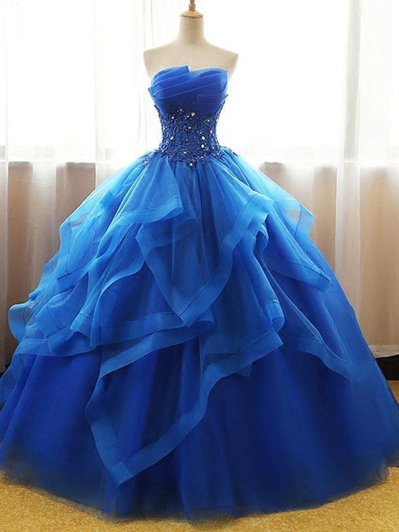 Ball Gown Wedding Dresses Strapless Floor Length Royal Blue Bridal Gown Jkw094 Prom Dresses Sleeveless Prom Dresses Lace Gowns