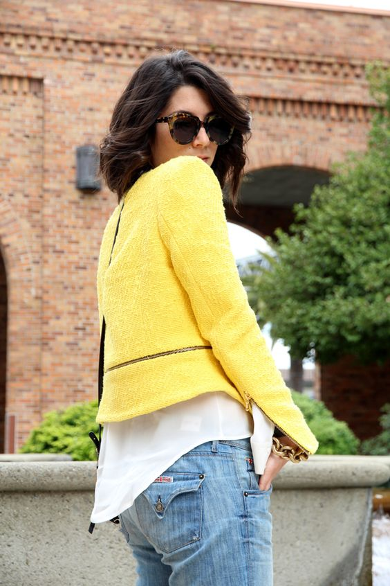 Oversized white vests with a cropped yellow blazer <3