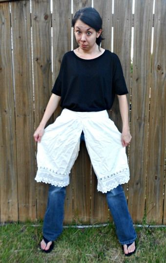 This blog is hilarious. She takes terrible thrift store clothes and repurposes them.