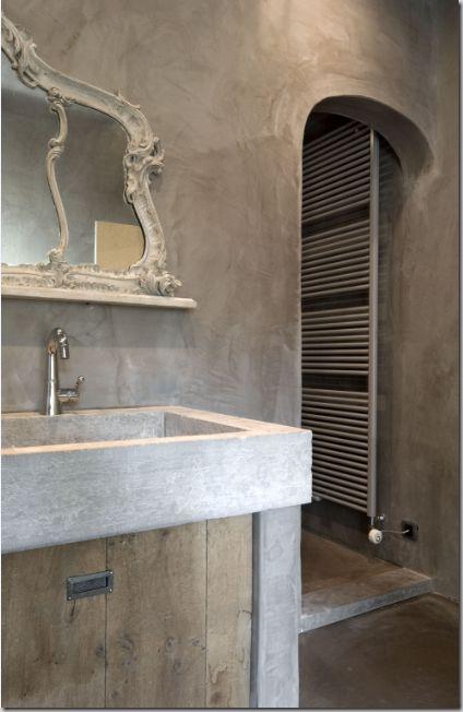 Diseño baño/ baño vintage: Bonito #baño con paredes de cemento ...