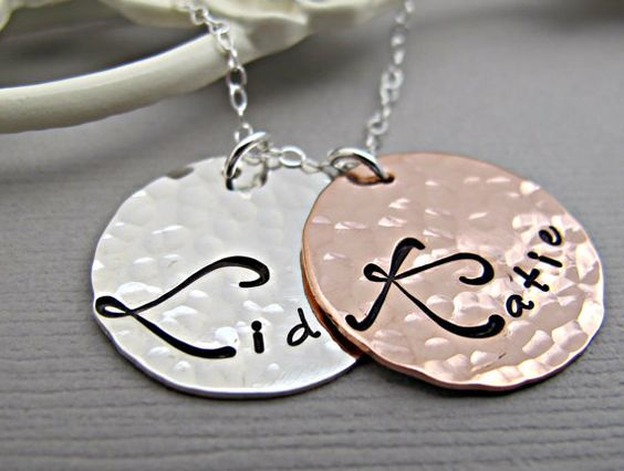 Hand stamped New Mom Necklace Personalized by Daisymetalcreations