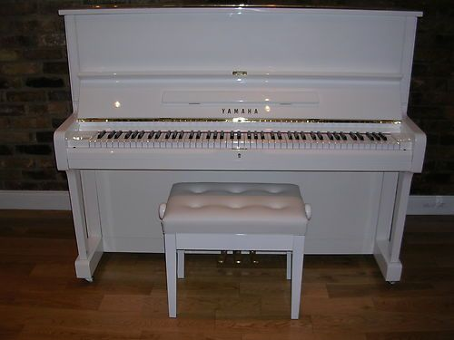 Yamaha u1 upright piano finished in white around 30 years for White yamaha piano