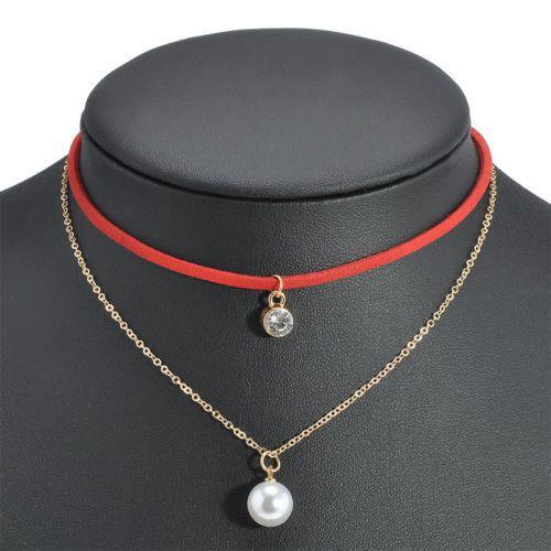 Boho red Choker necklace