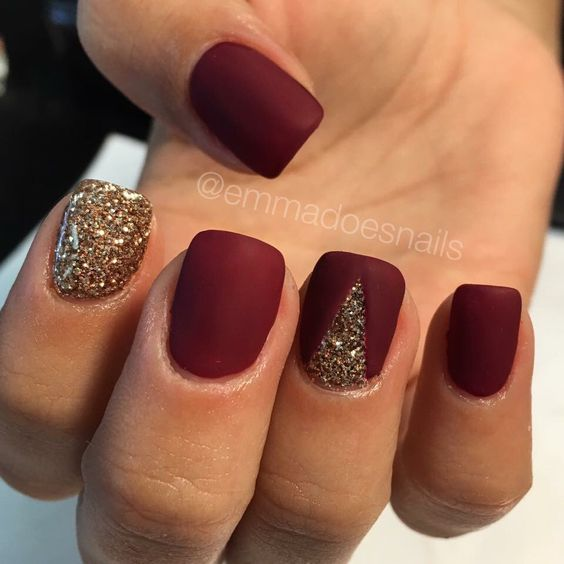 Matte nails, red nails, glitter nails, gold nails, fall nails, nail art, nail design