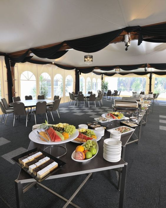 Buffet lunch setup in our marquee | Bell City event venue | Melbourne event venue | Melbourne conference venue
