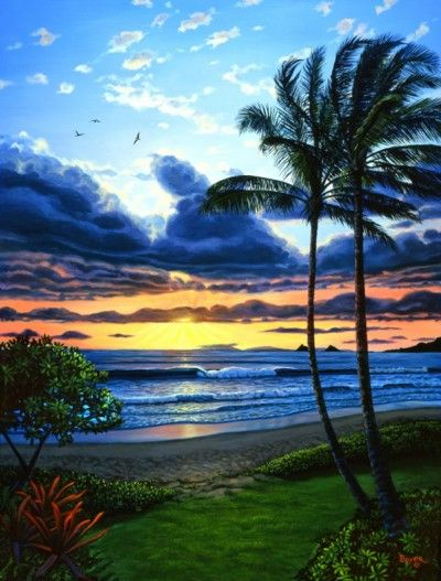 Kailua Bay Aglow - Lynne Boyer Beach Art - Hawaiian Art