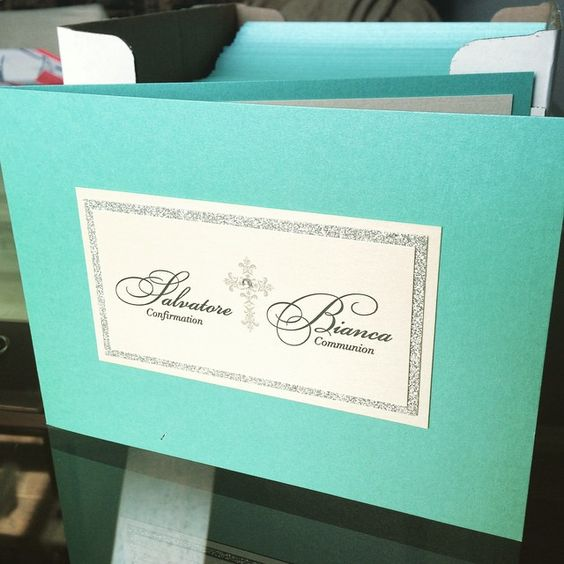 Bright blue baptism invitations  This one features twins!