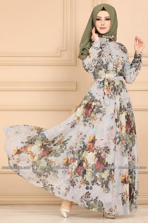 Modaselvim Elbise Desenli Sifon Elbise Ygs6211 Gri Sifon Elbise Elbise Elbiseler