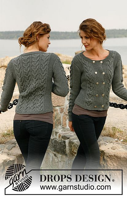 """Ravelry: 131-3 """"Nordic River"""" jacket with textured pattern in """"Merino Extra Fine"""" pattern by DROPS design"""