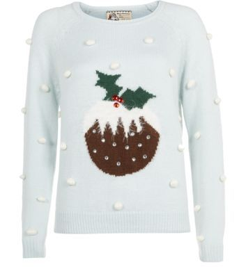 Pale Blue Polka Dot Pudding Christmas Jumper: I would love to wear this when I'm decorating the house for christmas!