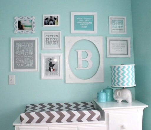 My daughters room is already this tiffany blue color but it could be shared with baby Boy just add the grey chevron & maybe orange:
