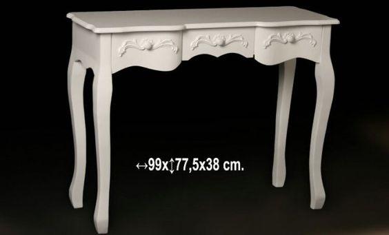 Consola de entrada PARIS con tres cajones madera decapé  Medidas: 99x77.5x38 cm   Iva incluido, gastos de envío gratis (válido peninsula)  Más productos de la serie PARIS disponibles