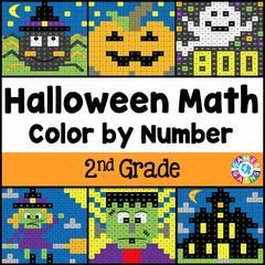 Halloween Math Color-by-Number - 2nd Grade