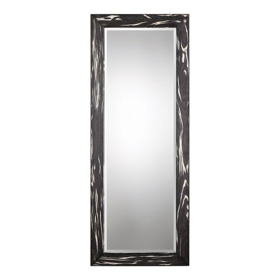 "OVER DINING ROOM FIREPLACE MANTEL | Uttermost Kozani Oversized Black Wood Beveled Mirror 80""L x 32""H, turned horizontally"