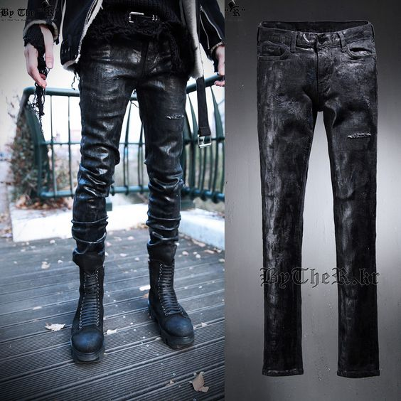 Skull Hoodies, Jackets, T-Shirts, Shoes, Boots and more mens gothic punk ... fined here http://rebelstreetclothing.com/products/mens-gothic-punk-rock-black-jeans-holes-coating-wax-retro-slim-fit-pencil-feet-trousers-pants