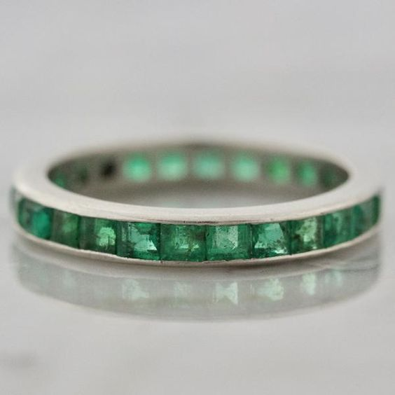 Cartier Vintage Emerald and Platinum Eternity Band | Stella - Victor Barbone Jewelry